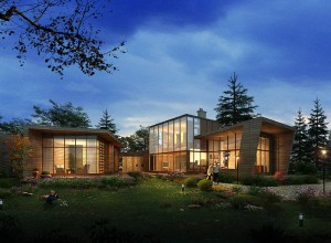 Landscaping renderings-nightfall view