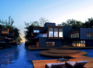 Landscaping renderings-villa with water